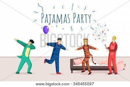 Pajamas Party Flat Banner Vector Template. Overnight Stay, Sleepover, Festive Event Advertising Post