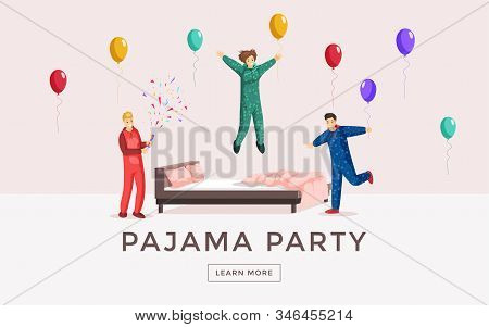 Pajama Party Web Banner Vector Template. Overnight Stay Landing Page, Sleepover, Slumber Party Poste