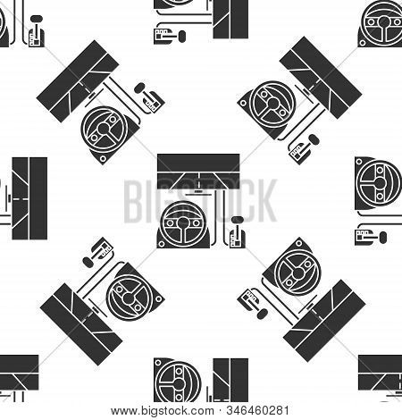 Grey Racing Simulator Cockpit Icon Isolated Seamless Pattern On White Background. Gaming Accessory.