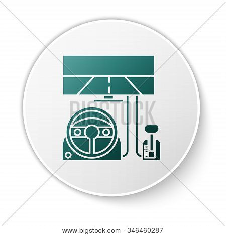 Green Racing Simulator Cockpit Icon Isolated On White Background. Gaming Accessory. Gadget For Drivi