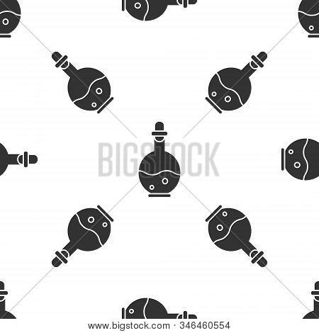Grey Glass Bottle With Magic Elixir Icon Isolated Seamless Pattern On White Background. Computer Gam
