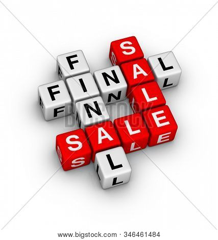 Final Sale Sign. 3D cubes crossword puzzle on white background.
