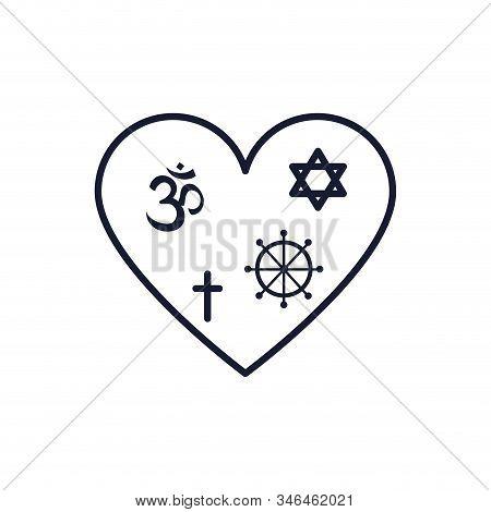 Symbols Inside Heart Design, Religion Culture Belief Religious Faith God Spiritual Meditation And Tr