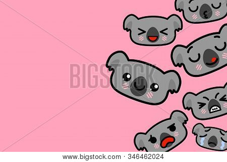 Template Banner With Place For Text - Funny Emoji Koalas Vector Illustration
