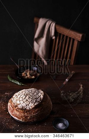 Country Sourdough Bread With Artistic Pattern On The Top
