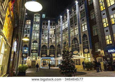 Berlin, Germany - Dec 18, 2019: Hackesche Hofe, Courtyard Complex Situated Near Hackescher Markt In