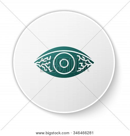 Green Reddish Eye Due To Viral, Bacterial Or Allergic Conjunctivitis Icon Isolated On White Backgrou