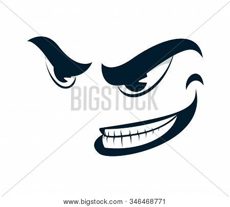 Funny Cartoon Angry Sneering Face Vector Smile Illustration Isolated On White, Facial Expression Ill