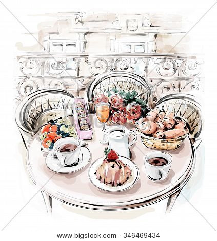 Hand Drawn Table Set With French Breakfast. Stylish Paris Balcony With Table. Cute Illustration.