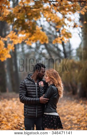 Interracial Couple Posing In Blurry Autumn Park Background