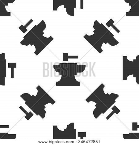 Grey Anvil For Blacksmithing And Hammer Icon Isolated Seamless Pattern On White Background. Metal Fo