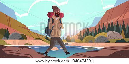 Man Traveler Hiking With Backpack Travel Lifestyle Wanderlust Adventure Concept Guy Hiker Walking Ou