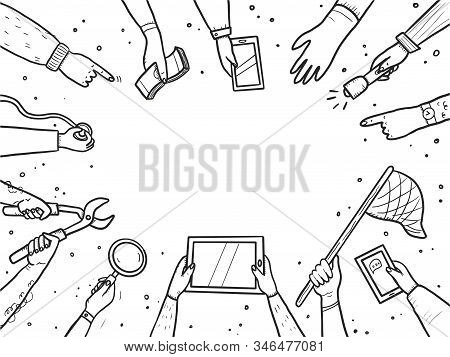 Hand Drawn Doodle Style Hands With Different Elements, Tablet, Magnifier, Skip. Concept Of Chaze Tre