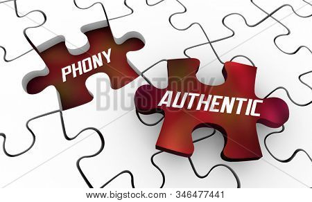Authentic Vs Phony Real Sincere Vs Fake Puzzle Pieces 3d Illustration