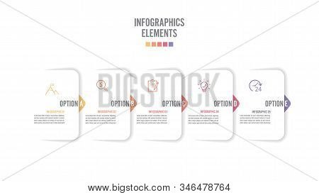 Five Paper White Overlapping Arrows Placed In Horizontal Row. Concept Of 5 Successive. For Content,