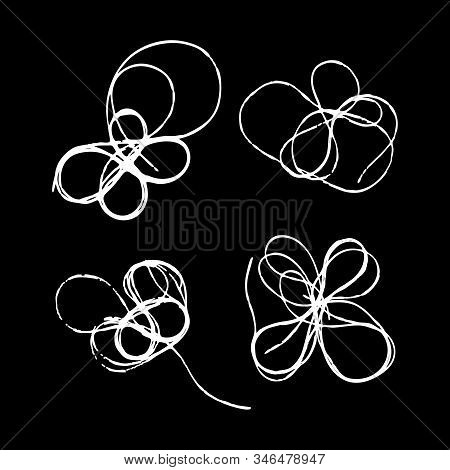 Set Of Tangled Threads. Thread Scribble Petals, Flowers, Spots For Spring Season. White On Black Out