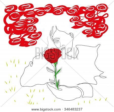 One Continuous Line Drawing Of Man Relaxing Lying Down And Holding A Rose. Simple Line Art Drawing O