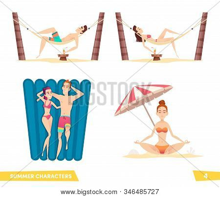Collection Of Summer Beach Cartoon Characters. People Enjoy A Beach Holiday.