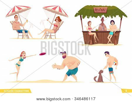 Happy Young People Resting On The Beach. Collection Of Modern Cartoon Summer Characters.