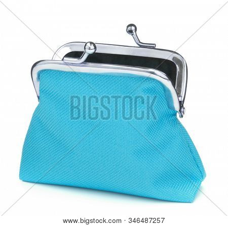 Blue cash wallet isolated on white background. Charge purse. Open empty coin wallet.