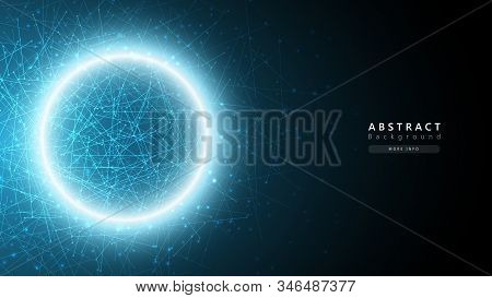 Blue Abstract Cosmos Technology Background,big Data Analysis Concept,data Particles Science Transfer