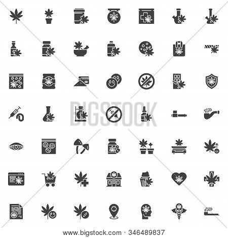 Cannabis Store Vector Icons Set, Modern Solid Symbol Collection, Marijuana Shop Filled Style Pictogr