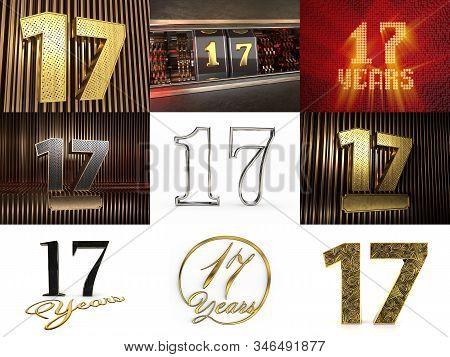 Set Of Number 17 (number Seventeen) Celebration Design. Anniversary Number Template Elements For You