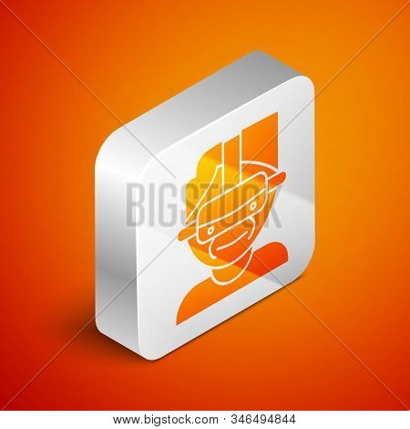 Isometric Virtual Reality Glasses Icon Isolated On Orange Background. Stereoscopic 3d Vr Mask. Silve