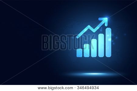 Futuristic Raise Arrow With Bar Chart Graph Digital Transformation Abstract Technology Background. B