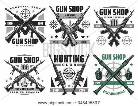 Gun Shop And Hunting Ammo, Equipment Store Vector Icons. Military Ammunition, Rifles And Shotguns, R