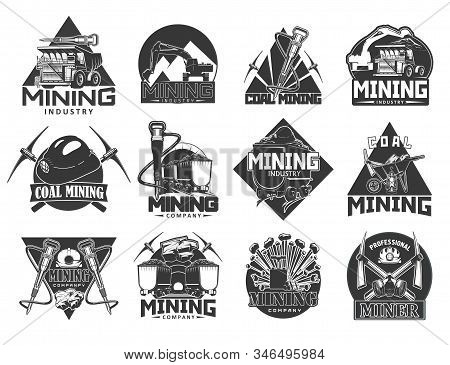 Coal Mining Industry, Isolated Vector Monochrome Icons. Miners Equipment, Coal Extraction, Work Tool