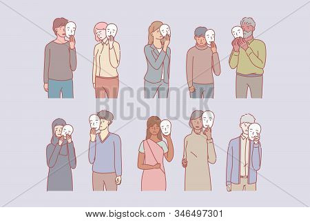 Depressed People Covering Emotions Behind Mask. Group Of Young Multiethnic Men And Women Hide Their