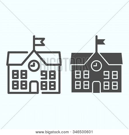 School Line And Solid Icon. School Building Vector Illustration Isolated On White. Building With Clo