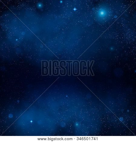 Outer Space Blue Nebula Backdrop. Night Shining Starry Sky, Blue Space Background. Universe. Galaxy.