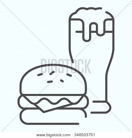 Burger And Beer Thin Line Icon. Fast-food With Drink Vector Illustration Isolated On White. Burger A