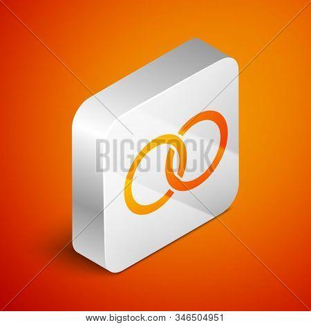 Isometric Wedding Rings Icon Isolated On Orange Background. Bride And Groom Jewelery Sign. Marriage