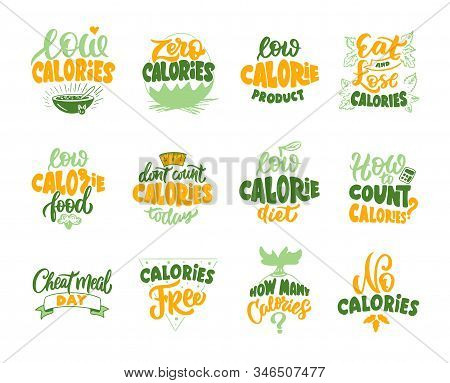 No Calories, Zero Calories, Low Calories Product. Set Of Vintage Retro Handmade Badges