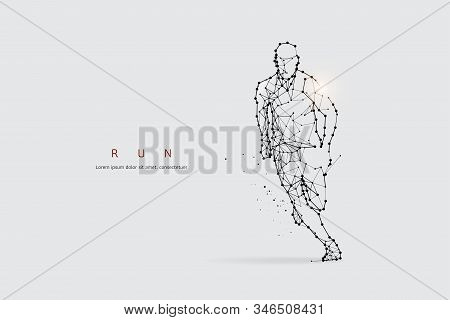 The Particles, Geometric Art, Line And Dot Of Running. Abstract Vector Illustration. Graphic Design