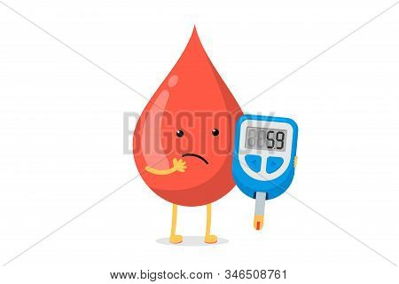 Cute Cartoon Doubt Blood Drop Character With Glucometer. Diabetic Glucose Measuring Device With Bord