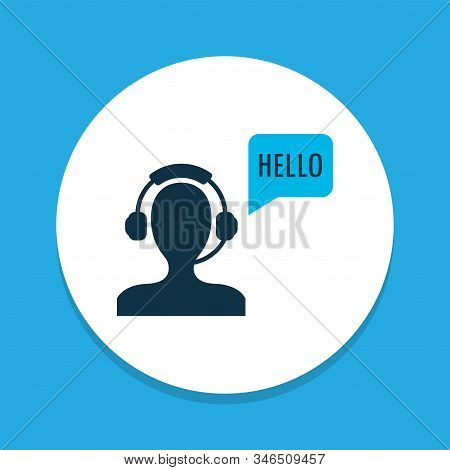 Greeting Male Operator Icon Colored Symbol. Premium Quality Isolated Helpline Element In Trendy Styl