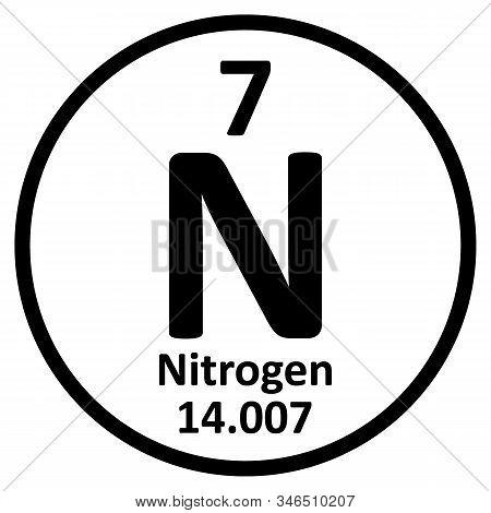 Periodic Table Element Nitrogen Icon On White Background. Vector Illustration.