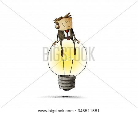 Cheerful Man Sitting On Top Of A Big Light Bulb. Idea And Creativity Concept. Isolated