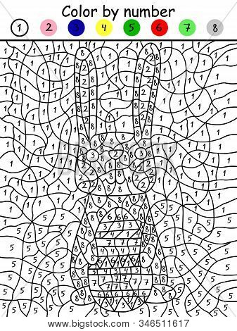 Fanny Easter Bunny With Colored Egg Color By Number Game. Printable Paper Math Coloring Game For Kid