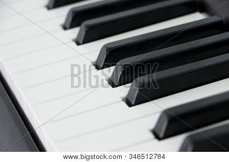 Classical Piano Keyboard Selective Focus.piano Keys Musical Instrument Side View.piano Famous Acoust