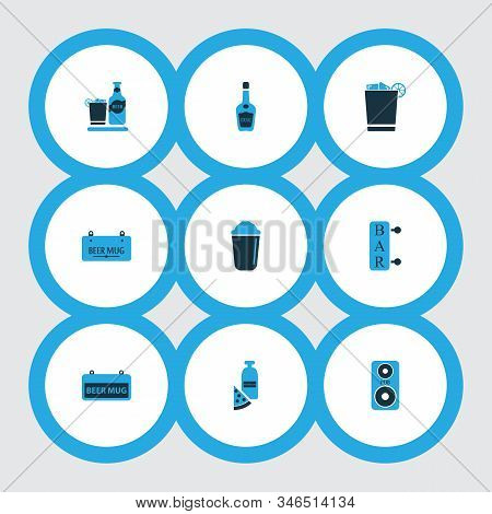 Beverages Icons Colored Set With Shaker, Beverage, Whiskey With Ice And Other Vodka Bottle Elements.