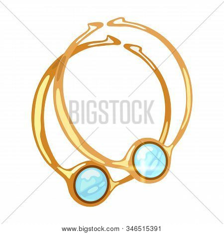 Beautiful Dangling Hoop Yellow Gold Earrings With Round Light Blue Transparent Aquamarine Or Topaz.