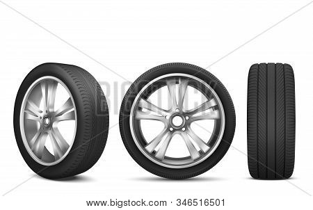 Sport Car Wheel With Japanese Steel Disk Isolated On White Background Front And Side View. Realistic