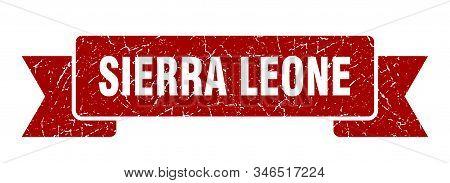 Sierra Leone Ribbon. Red Sierra Leone Grunge Band Sign