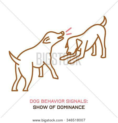 Dog Behavior Icon. Domestic Animal Or Pet Language. Dominant Labrador. Aggressive Reaction. Bad Sign