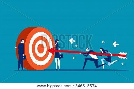 Business Team Goal Achievement. Concept Business Vector Illustration, Motivation, Support & Partner,